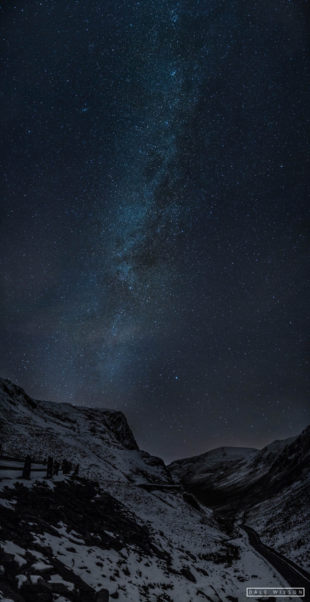 Snow on the mountains and starry sky and Milky Way Honister pass